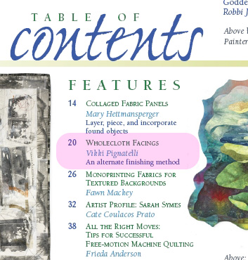 Table of Contents, Quilting Arts Magazine Jan/Feb 2008