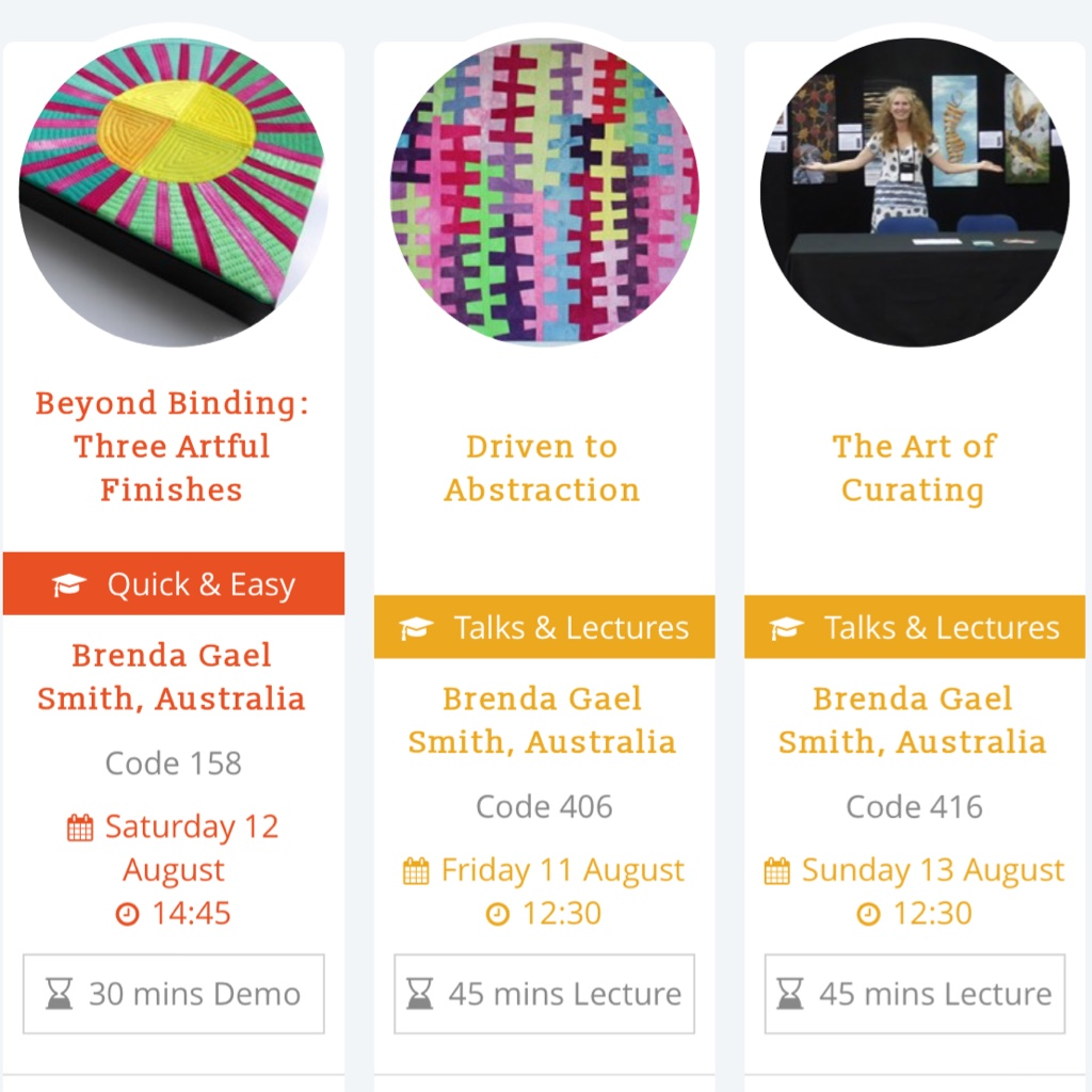 DIscount tickets and Presentations by Brenda Gael Smith at Festival of Quilts 2017