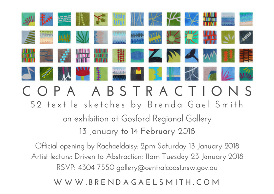 Invitation to Brenda Gael Smith Textile Art Exhibition - Copa Abstractions