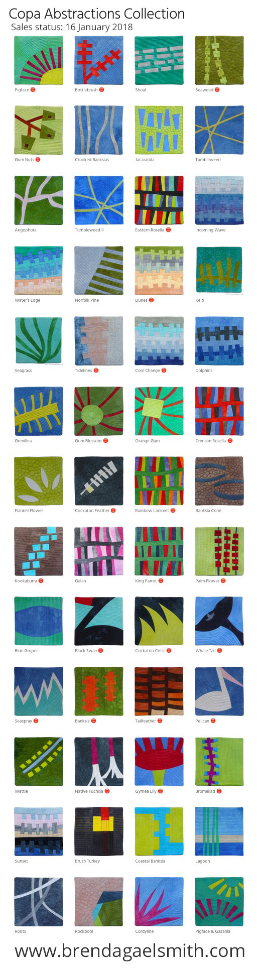Copa Abstractions - textile sketches by Brenda Gael Smith for sale