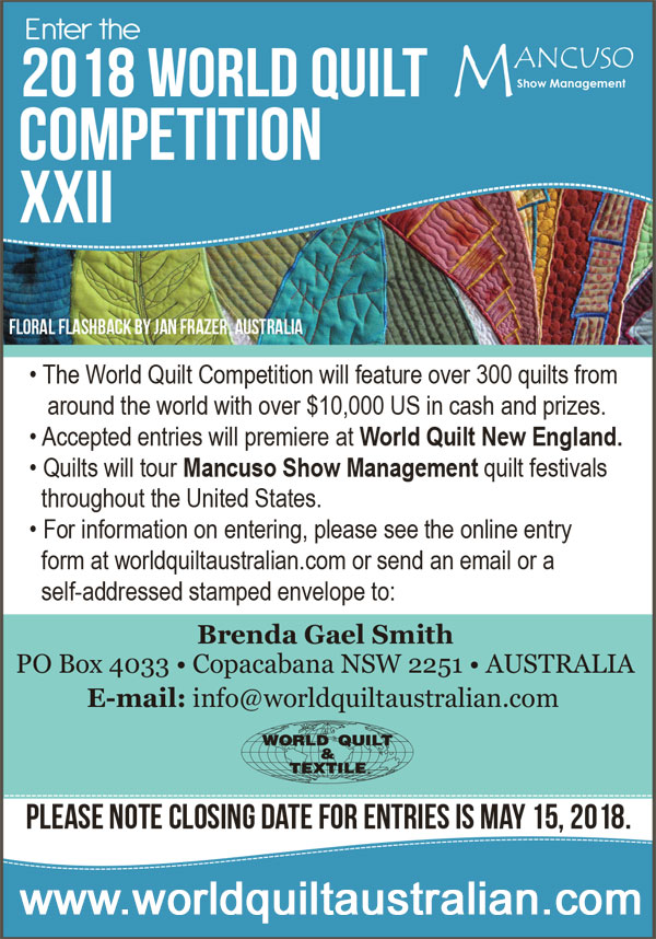 Call for Australian Entries - World Quilt Competition 2018
