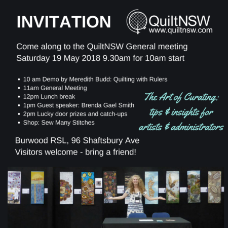 Invitation to QuiltNSW general meeting 19 May: Art of Curating
