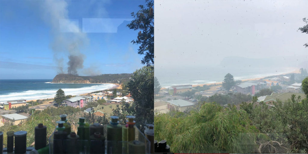 View from the Serendipity Studio August 2019 controlled burn and January 2020 smoke and ash