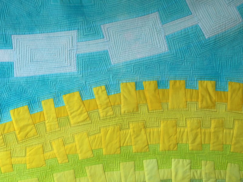 Landlines: Canola Country (detail) textile painting by Brenda Gael Smith