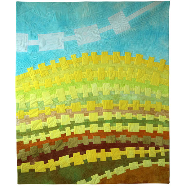 Landlines: Canola Country textile painting by Brenda Gael Smith