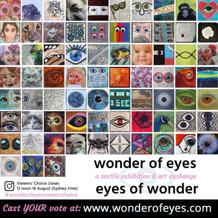 Mosaic of 73 mini quilts in the Wonder of Eyes exhibition
